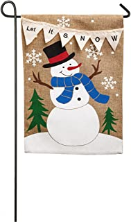 Evergreen Flag Let it Snow Double Sided Burlap Garden Flag