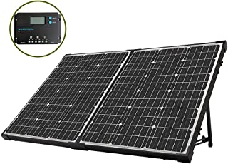 HQST 100 Watt Monocrystalline Solar Suitcase with 10 Amp 12V/24V PWM Common Postive Solar Charge Controller Compatible with Deep Cycle Sealed AGM Gel, Flooded Batteries