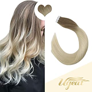 Ugeat 12inch 20 Pieces Seamless Hair Extensions Tape in Two Tone Color Blonde Fading to Blonde Straight Remy Human Hair Extensions 8A Grade 30grams