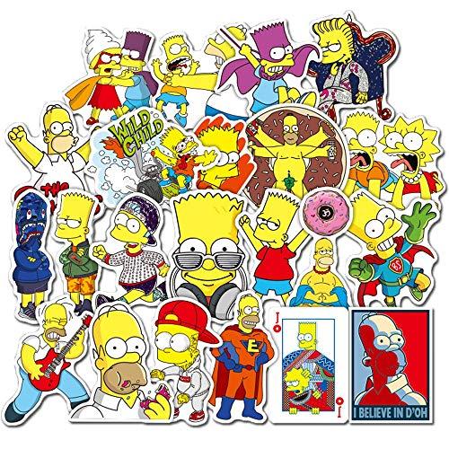 Simpson Aufkleber für Wasserflaschen, Laptop, Kinder, Autos, Motorrad, Fahrrad, Skateboard, Gepäck, Hippie-Aufkleber, 50 Stück