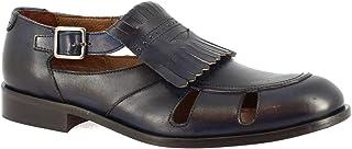 Leonardo Shoes Zapatos Abiertos para Hombre Hechos a Mano con Flecos en Piel de Becerro Negra con Cierre de Hebilla - Núme...