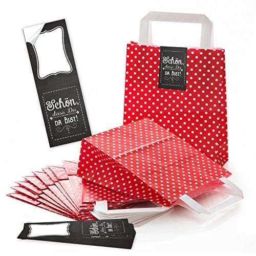 Logbuch-Verlag 25 kleine rot gepunktete Geschenktüten Gastgeschenk Verpackung Ostern Geschenkpapier Hochzeit Kommunion give-away Werbung Kunden Tüte