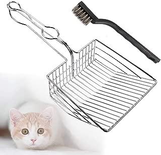 TraGoods Cat Litter Scoop Shovel Metal Stainless Steel Cat Litter Tray Hollow Pet Toilet Clean Shovel (Silver)