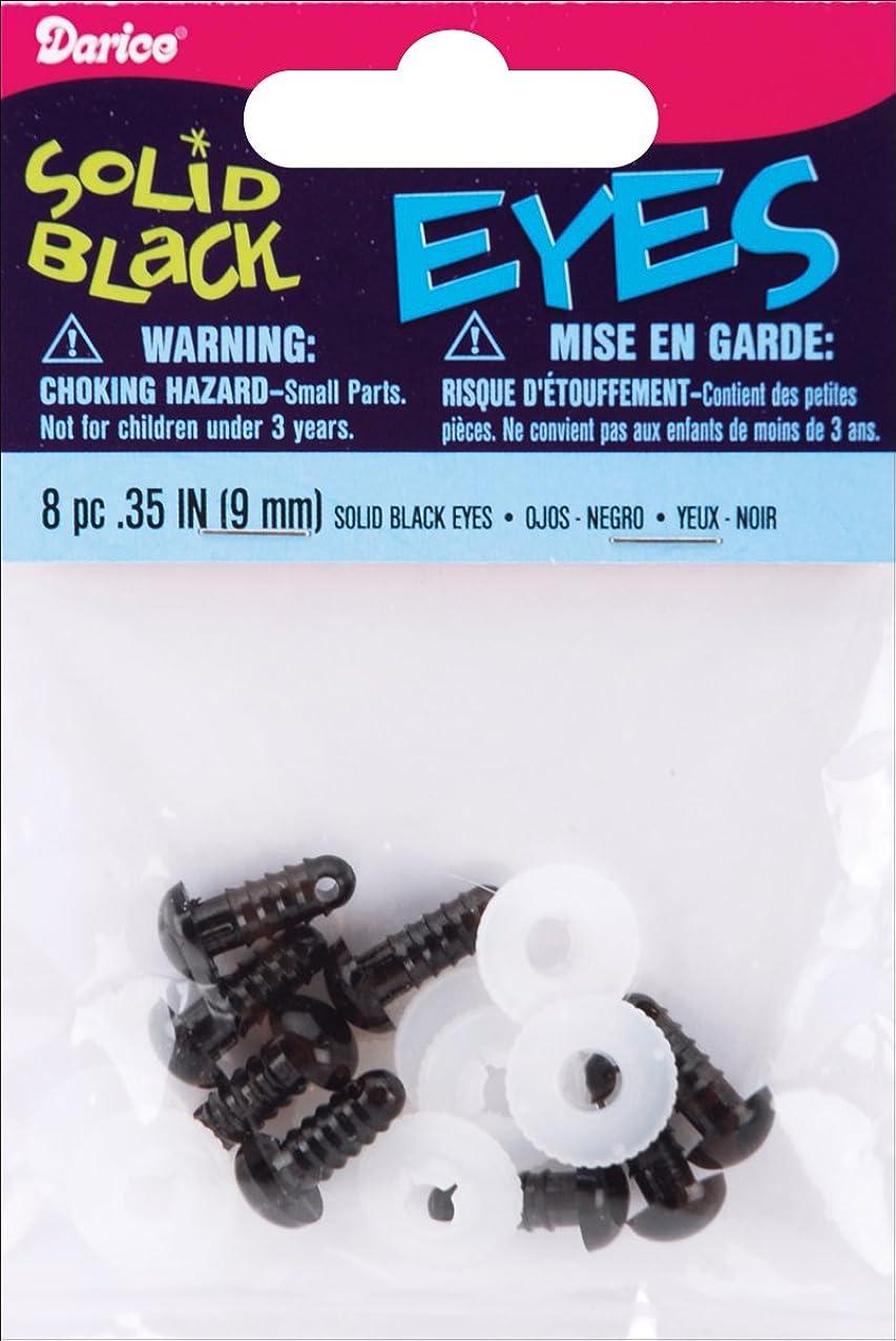 Bulk Buy: Darice Shank Back Solid Eyes 9mm 8/Pkg Black 51609 (6-Pack)