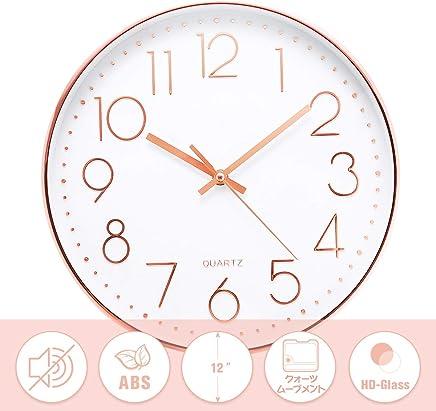 Jeteven 掛け時計 おしゃれ 壁掛け時計 クオ—ツ 静音 ローズゴールド 約30cm ホーム ベッドルーム キッチン プレゼントオススメ