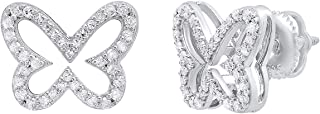 0.45 Carat (ctw) Round White Diamond Ladies Butterfly Stud Earrings 1/2 CT, Sterling Silver