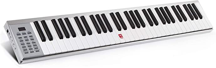 Piano Keyboard, 61 Key Electronic Keyboard with Touch-response Keys, Lightweight, USB or Adapter Power Supply, Aluminum Shell, Silver