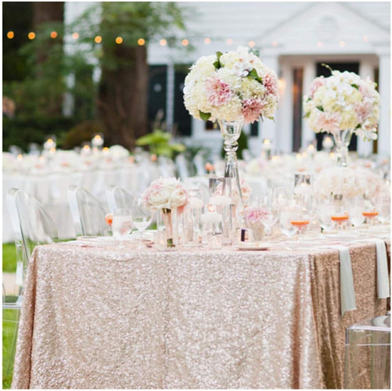 QueenDream 90 x132 Champagne bluesh sequin tablecloth, Champagne bluesh wedding tablecloth
