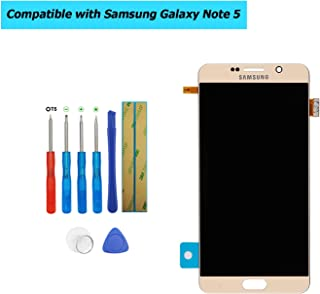 Upplus Super AMOLED Replacement Screen Compatible with Samsung Galaxy Note 5 N9200 N920 Super AMOLED Display Assembly Touch Screen with Toolkit (Gold)