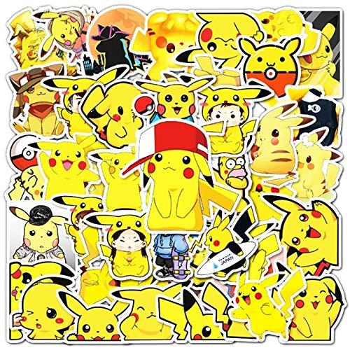 YZFCL Pikachu cartoon cartoon adornment sticker skateboard rider cart suitcase car graffiti sticker 54 PCS