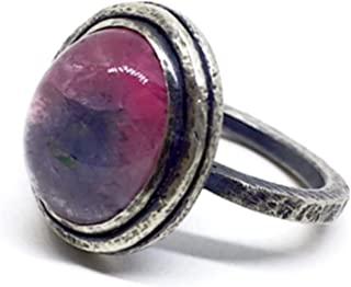Anello esclusivo con preziosa Tormalina bicolore (Rosa/Grigio bluastro) proveniente dall'Afghanistan misura 15 mm x 12 mm ...