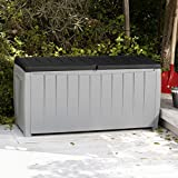Keynote Solid Resin Plastic Weather Water Resistant Two-Tone Gray/Black 90-Gallon Outdoor Deck Storage Box Bench Seat- Durable Chip Resistant Deep Storage Compartment- Easy Lift Lid- Deck Pool