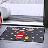 Salonloewe Fußmatte Weihnachten Elch Rudi mit Laterne Schmutzfangmatte waschbar rutschfeste Fussmatte für Jede Haustür aussen + innen 50x75 cm anthrazit rot - 3