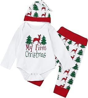 "Hirolan Weihnachten Baby Strampler Babymützen Neugeboren Kinder Mädchen Jungen Outfits Kleider 3 Stück Spielanzug  Hose  Hut Set Beschriftung""My First Christmas """