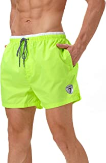 Mens Swim Trunks Solid Beach Shorts Quick Dry Swimwear Bathing Suits with Breathable Mesh Lining