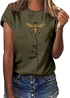 Short Sleeve Tee Blouse for Women,Amiley Womens Bee Print O-Neck Fashion Casual Summer Short Sleeve T Shirts Blouses Tops