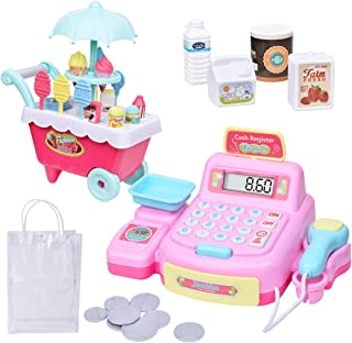 MDGZY Play Electronic Toy Cash Register,Ice Cream Toy,Pretend Play,Toddler Money,Kids stem Toys,Pretend Food Truck Toy,Ice Cream cart,Play Set for Toddler Toys