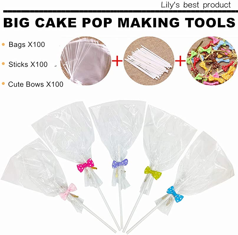 Large Big Lollipop Cake Pop Bag Set For Making Lollipops Cake Pops Candies Chocolates And Cookies Pack Of 300 Including BagsX100 SticksX100 Cute BowsX100