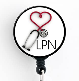 LPN Heart Stethoscope - Retractable Badge Reel with Swivel Clip and Extra-Long 34 inch Cord - Badge Holder