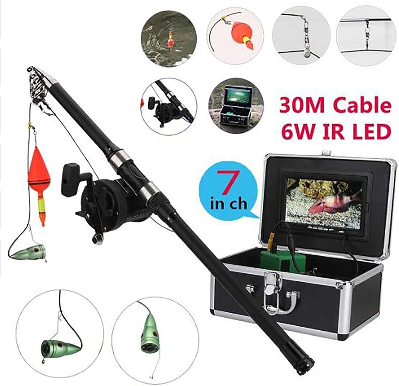GJR-OUT Aluminium Alloy Unterwasser-Fishing Video Camera Kit, 6W LED-Leuchten mit 7  Zoll HD Farbe Monitor Sea Wheel 15m 25m 30m