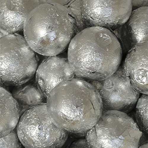Silver Candy Caramel Filled Milk Chocolate Foiled Balls 2lb - Free Cold Packaging