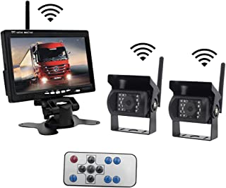 $89 » Wireless Backup Monitor and Dual Camera Kit, Lychee 7 Inch Rear View Parking System HD TFT LCD Color Screen Display with 2...