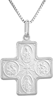 Sterling Silver 4-Way Cross Medal Necklace 1 inch Italy0.8mm Chain