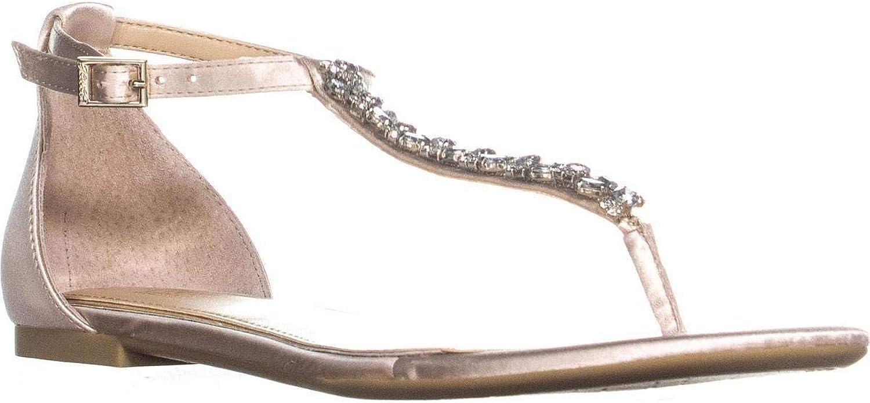 Badgley Mischka Jewel Gabby T Strap Flat Sandals, Champagne, 6.5 US