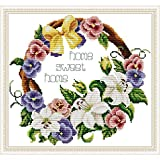 Printed Cross Stitch Kits 14CT DIY Starter Needlepoint Kits Easy Patterns Embroidery for Girls Crafts DMC Stamped Cross-Stitch Supplies Needlework -Sweet Home 13.8x13(inch)