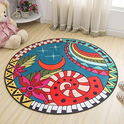 NAN&Carpettes Carpettes Moquette Textile Round Étoiles Noir Mats Facile À Gérer Chambre Durable (MODÈLE : 4, taille : 1.0 * 1.0m)