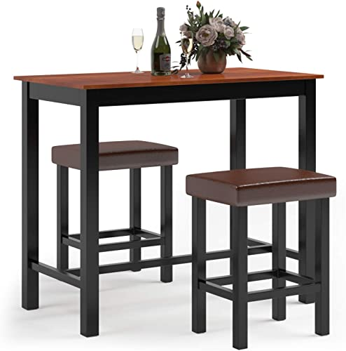 high quality Giantex 3-Piece Pub Dining Table Set, 36 Inch Wood Counter Height Table Set with 2 new arrival Upholstered Stools, Rectangular Breakfast Table Set, Bistro Table Set, 2021 Kitchen Table Set sale