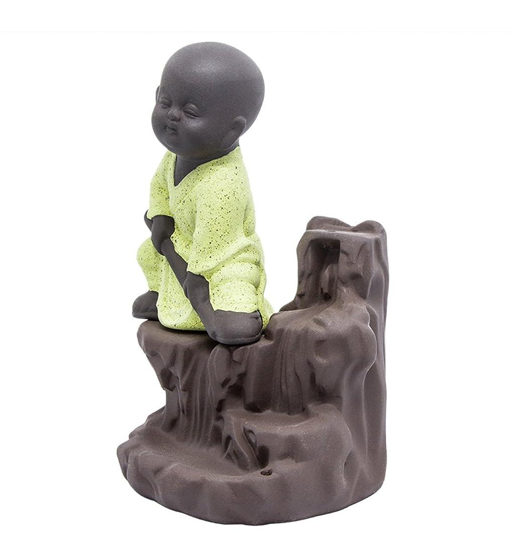 暴露もつれ有名逆流香炉タワーCones Sticks Little Monkホルダーセラミック磁器Buddha Monk Ashキャッチャーby Simon & # xff08?;イエロー& # xff09?;