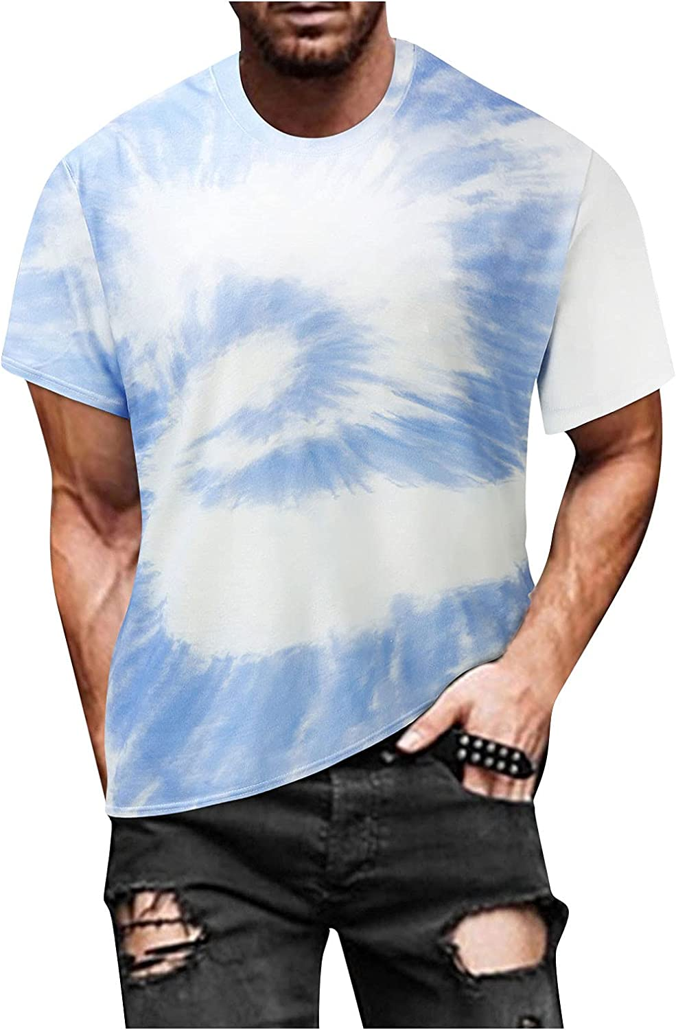 FUNEY Fashion Mens Hip Hop Tie-Dyed Hipster Colorful T Shirts Casual Crewneck Short Sleeve Vintage Printed Tee Tops Blouse