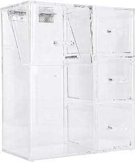 Boîte de Rangement Transparente Organisateur de Cosmétiques de Bureau avec 1 Cylindre de Brosse de Maquillage Et 3 Tiroirs...