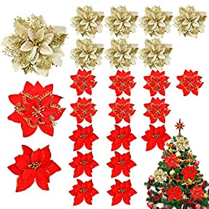 24 Pack Christmas Glitter Poinsettia Artificial, Silk Flowers Picks Christmas Tree Ornaments for Christmas Tree Wreaths Garland Holiday Party Decoration (Red)