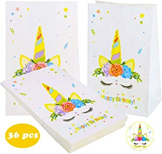 KAISHANE Unicornio Bolsos de fiesta Papel Bolsa de regalo 36 piezas Bolsa de Kraft para ir