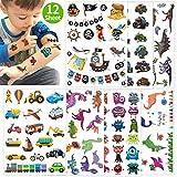 Oblique Unique XXL Kinder Tattoo Set 112 Stück für Jungs Dinosaurier Dinos Monster Truck Auto Piraten Motive UVM. Farbenfrohe Temporäre Tattoos zum Spielen Kindergeburtstag