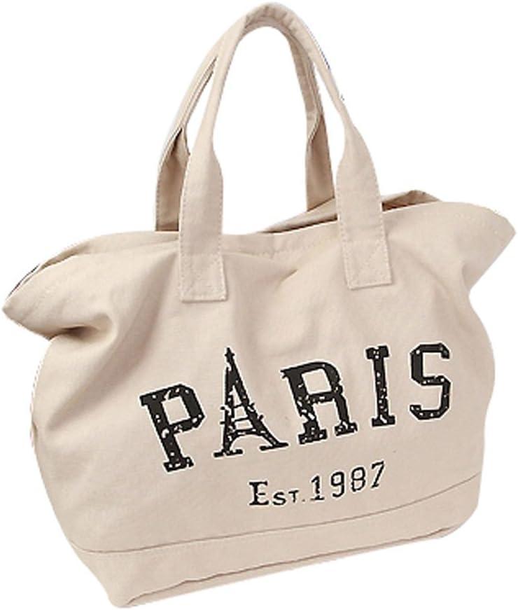 Fashion Letter Canvas Shoulder Handbag Large Capacity Shoulder Purse Tote Handbags Ladies Vintage Hobo Purse, Beige