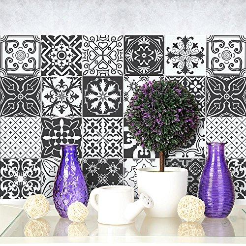 12 (Piezas) Adhesivo para Azulejos 20x20 cm - PS00008 - Negro y Blanco Floral - Adhesivo Decorativo para Azulejos para baño y Cocina - Stickers Azulejos - Collage de Azulejos