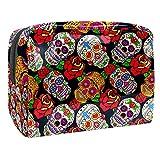 TIZORAX Bolsa de maquillaje mexicana con diseño de calavera de azúcar con rosa de PVC, bolsa de maquillaje de viaje, práctica bolsa organizadora para mujeres