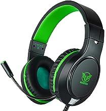 هدفون مخصوص بازی برای Xbox One ، PS4 ، Nintendo Switch ، Bass Surround و حذف سر و صدا با میکروفون قابل انعطاف ، هدفون های قابل تنظیم با سیم 3/3 میلی متری برای گوشی های هوشمند Laptop PC iPad (سبز-سیاه)