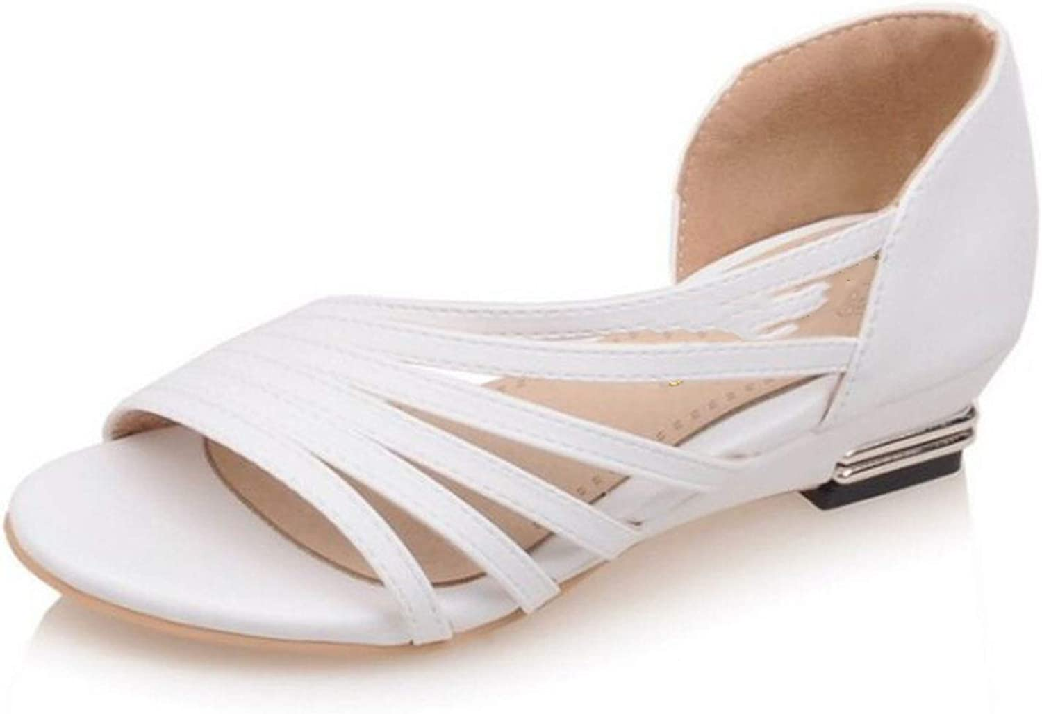 Fairly Flats Peep Toe shoes Cross Strap Solid color All Match Flat Vintage s,White,9