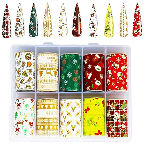Bestkiy Christmas Nail Glitter Art Decals, 10 Colors Xmas Nail Transfer Foil Stickers Snowflake Christmas Tree Symbols for Women Girl DIY Nail Art Design Manicure Tips Wraps Supplies