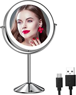 Gospire 8 Inch Lighted Makeup Mirror 1X/10X Magnifying LED Makeup Mirror 3 Color Dimmable Lighting Modes Rechargeable Cord...