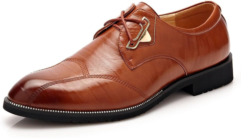 JUJIANFU-shoes Men's Business Formal Oxfords Split PU Leather Lace Up Wedding Dress shoes