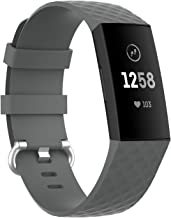 ELCM Bands Compatible with Fitbit Charge 3 and Fitbit Charge 4, Breathable Sport Band Replacement Wristbands (Grey, Large)