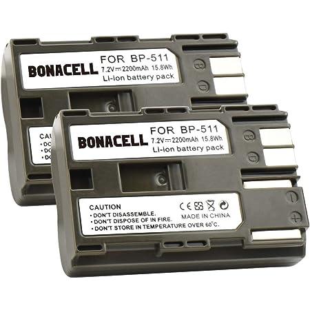 Bonacell 2x Akku Für Canon Bp 511 Ersatzakku 2200mah Kamera