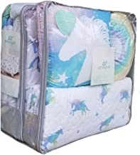 Lil Envogue Pastel Rainbow Unicorn 6pc Full/Queen Size Comforter Set ~ Comforter + Quilt Coverlet + 2 Pillow Shams + 2 Toss Pillows
