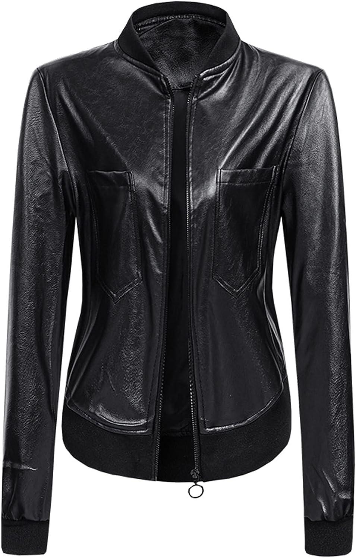 Aritone Women's Stand Collar Motorcycle Jacket Leather Fashion Jacket Coat Casual Slim Short Jacket