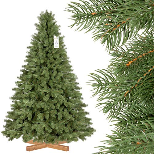 FairyTrees Artificiale Albero di Natale Abete Reale Premium, Mix di Materiali tra pressofuso e PVC, incl. Supporto in Legno, 180cm, FT18-180